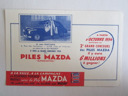 Publicité Buvard Buvards Piles Mazda Jean Martinais Rue Des Fonteaux Vitré Peugeot 203 - Accumulators