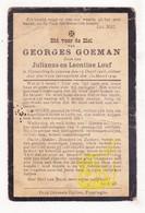 DP Georges Goeman / Louf 12j. ° Vlamertinge Ieper 1906 † Accident Trein 1919 - Imágenes Religiosas