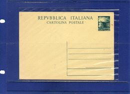 ##(DAN195)-Italy-1949-Cartolina Postale L.15 Democratica Cat.Filagrano C141 Nuova - 6. 1946-.. Repubblica