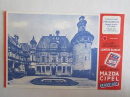 Publicité Buvard Buvards Piles Mazda Pons Egreteau Château D'Usson Façade Et Colombier - Baterías