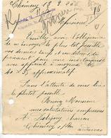 Carte Lettre 1920 / 08 CHEMERY Sur BAR / A DELIGNY Charron - 1900 – 1949