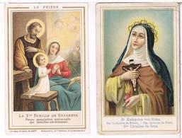 2 Holycaerts - La Ste. Famille De Nazareth, St. Kathrina Von Siena (2 Scan's) - Imágenes Religiosas