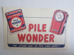 Publicité Buvard Buvards Pile Wonder Type Batri - Baterías