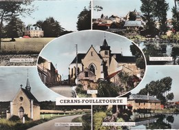 Cpsm 10x15 . CERANS - FOUILLETOURTE (72) Multi-vues : Château Bel-Air, Chapelle Du Léard, Vieux Moulin& Etang, Eglise - Other Municipalities