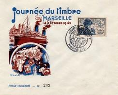Marseille 1945 - Journée Du Timbre Sur Enveloppe Spéciale De Draim - Postmark Collection (Covers)