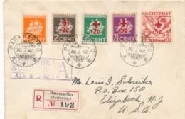 Suriname - 1942 - Rode Kruis / Red Cross Overprint Op Censored R-cover Van Paramaribo Naar Elizabeth / USA - Suriname ... - 1975