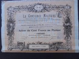 MILITARIA - LA CONFIANCE MILITAIRE - ACTION DE 100 FRS - PARIS 1909 - BELLE ILLUSTRATION -  ETAT MOYEN - Actions & Titres