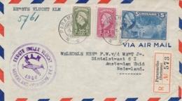 Suriname - 1946 - Tricolore Frankering Op R-LP-cover Van Paramaribo Met Eerste Snelle Vlucht Naar Amsterdam - Suriname ... - 1975