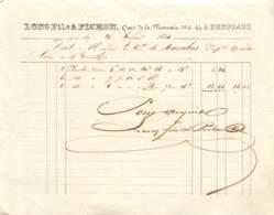 """FACTURE DE """"LONG Fils & PICHON"""" BORDEAUX - 1844 - Frankrijk"""