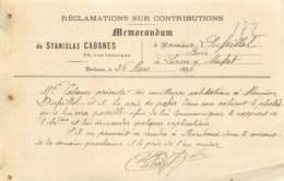 """LETTRE DE """"STANISLAS CABANES"""" BORDEAUX - 1896 - Frankrijk"""