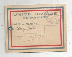 Carte De Membre , UNION CIVIQUE DE POITIERS ,  Cachet - Zonder Classificatie
