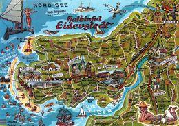 1 Map Of Germany * 1 Ansichtskarte Mit Der Landkarte – Halbinsel Eiderstadt * - Carte Geografiche