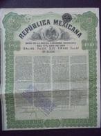 MEXIQUE - BONO DE LA DEUDA EXTERIOR DEL 4% ORO 1910 - OBLIGATION DE  L20 - BELLE ILLUSTRATION - Actions & Titres