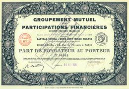 Occasion: Groupement Mutuel De Participations Financières (Imp. Richard) - Banco & Caja De Ahorros