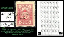 EARLY OTTOMAN SPECIALIZED FOR SPECIALIST, SEE...Mi. Nr. 752 - Mayo 111 BY - Plattenfehler Nur 1.750 Marken - 1920-21 Anatolie