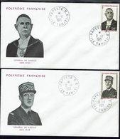 """Polynésie  """"Anniversaire De La Mort Du Général De Gaulle"""" N° 89 ET 90 Sur Deux Enveloppes - Cachets De Papeete 9-11-1971 - Polynésie Française"""