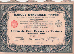 Occasion: Banque Syndicale Privée - Banco & Caja De Ahorros