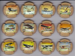 SERIE COMPLETA DE 12 PLACAS DE CAVA NUFILS DE AVIONES (CAPSULE) AVION - PLANE - Placas De Cava