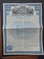 USA - CDF - ST LOUIS AND SAN FRANCISCO RAILROAD - TITRE DE 100 $ - 1910 - BELLE DECO - Shareholdings