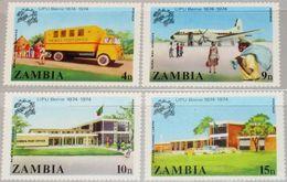 Zambia, 1974, UPU Centenary 4v  MNH - Zambia (1965-...)