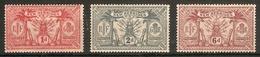 NEW HEBRIDES 1921 WATERMARK MULTIPLE SCRIPT CA SET OF 3  SG 36/39 LIGHTLY MOUNTED MINT Cat £19 - English Legend