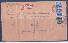Lettre Occupation Allemande WWII  Moselle Gueblange 1941 Cachet Français Sur Timbres Allemand - Alsace-Lorraine