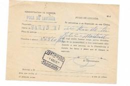 196D ASTURIAS AVISO DE CORREO CERTIFICADO , POLA DE LAVIANA --SA1 - 1961-70 Storia Postale