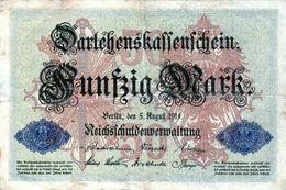 Billet Allemand De 50 Mark Du 5-8-1914- 6 Chiffres Rouge P - N° 624277 En T B - [ 2] 1871-1918 : Duitse Rijk