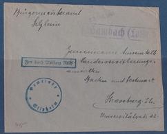 Lettre Occupation Allemande WWII Silzheim Bas-rhin Cahet Provisoire Hambach Moselle - Alsazia-Lorena