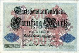 Billet Allemand De 50 Mark Du 5-8-1914- 6 Chiffres Rouge W-N° 388211 En T B - [ 2] 1871-1918 : Duitse Rijk