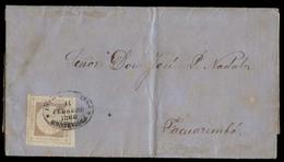 URUGUAY. 1860 (14 Feb). Yv 12A. Montevideo - Tacuarembo. EL Full Text Fkd 60r Lilac Complete Good Margins Fine Print / L - Uruguay