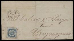 URUGUAY. 1862. Yv 16. Salto - Uruguay. E. Fkd 120rs Blue Large Margins / Tied Oval Ds. F-VF. - Uruguay
