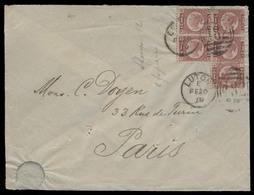 GREAT BRITAIN. 1879 (20 Feb). Luton - France. Env Fkd 1/2d Pl 12 Block Of Five Cds. VF. Scarce Multifkd Overseas Usage. - ...-1840 Préphilatélie