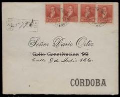 ARGENTINA. 1893. Sucursal Lorea - Cordoba. Reg Local Multifkd 5c Red X4 Env. XF. Superb Cond. Oval Ds. - Argentine