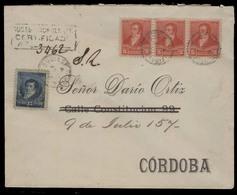 ARGENTINA. 1894 (June) Bs As Estacion Central - Cordoba. Reg Multifkd Mixed Issues Env. VF. - Argentinien