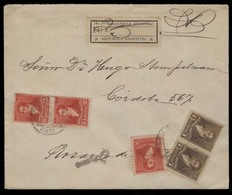 ARGENTINA. 1897 (5 Jan). Belle - Ville / Cordoba - Rosario (5 Jan). Reg Multifkd Env Bearing 1c Brown Pair + 5c (x3). Ar - Argentine