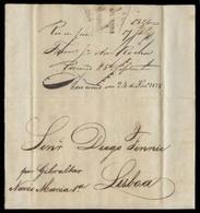 "BRAZIL. 1824 (17 July). RJ - Portugal. The Gibraltar Conection. EL Full Text Manuscript Endorsement ""Por Gibraltar / Nav - Unclassified"