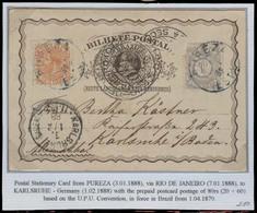 Brazil -Stationary. 1889. Pureza / Estaçao - Germany. 20rs Brown Stat Card + 2 Adtl / Blue Cancel. 80rs Rate. Fine. Ex - - Brésil