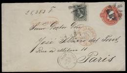 Brazil -Stationary. 1882 (23 April). RJ - France. Reg 300rs Red Stat Env + 100rs Green Adtl. Reg Red Pmk. VF. - Brasil