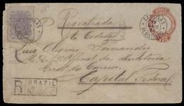 Brazil -Stationary. 1894 (12 May). Campina - RJ. Reg 100rs Red Stat Env + 200rs Adtl / Cds. Reverse Pharmacy Label. - Brazil