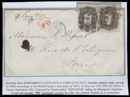 """BRAZIL. 1877 (20 Feb). Pernambuco - France. Env Fkd 200rs Pair Tied Cork + Red D P Alongside. Carried By """"Equater"""" (Fren - Brasil"""