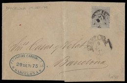 E-ALFONSO XII. 1875 (30 Sept). 163º. Barcelona Correo Local Carta Impresos Con Contenido, Mat Fecha. - Espagne