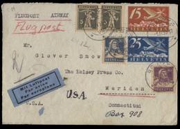 Switzerland - XX. 1933 (1 April). Schwyz - USA. Reg Air Multifkd Env. VF. - Switzerland