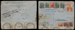 Italy - XX. 1947 (18 April). Roma - New Zealand. Reg Multifkd Env + Postal Scal Labels + Special Naples Cachet Ogetto Re - Italien
