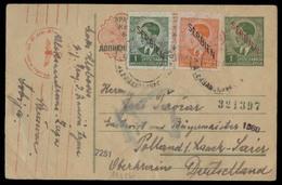 SERBIA. 1942 (4 July). Alexandrova - Germany. 1d Green Ovptd Issue + 2 Adtl Stat Card + Nazi Censored. V Scarce. - Serbia