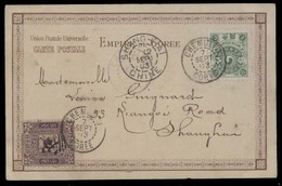 KOREA. 1903 (7 Sept). Chemulpo - China / Shanghai (12 Sept). Early Viewcard Fkd Mixed 1ch Green + 3 Ch On 50p Lilac (Yv - Corea (...-1945)