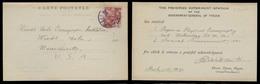 KOREA. 1941 (28 May). Husan / Työsen - USA. Japanese Occup. Goverment Fkd Card To USA. Xtraord Rare Violet Cachet. Husan - Corea (...-1945)