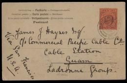 GIBRALTAR. 1904 (9 March). GPO - Guam / Ladrones Isl / Pacific. Fkd P Via NY (28 March) - S Fº. V Scarce. - Gibraltar