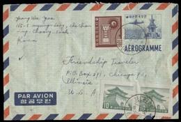 KOREA. 1962 (19 June). Techeon - USA. 100m Stat Air Lettersheet + 3 Adtls Stamps. VF. - Corea (...-1945)