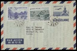 KOREA. 1964 (23 June). Pusan - USA. 18m Stat Air Letter Sheet + 2 Adtls. Fine. - Korea (...-1945)